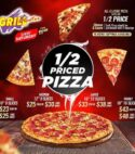 Saturday 1/2 Priced Pizza Special (Only available on Saturdays)