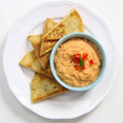 Zesty Parsly potato chips and Hummus dip