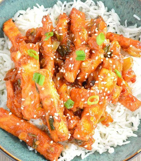 Sweet and Sour Paneer with Rice